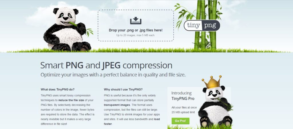 tinypng, site de compression photo pour optimisation Web